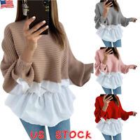 Women Long Sleeve Frill Ruffle Tops Ladies Casual Loose Pullover T-Shirt Blouse