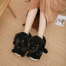 Sweet Cute Dog Image Faux Suede Casual Shoes Winter Warm Home Women Flat Loafers