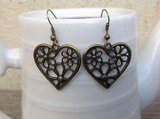 Bronze Heart Flower Drop Earrings Jewelry Fashion Women's Girls Accessories
