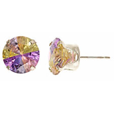 CZ Lucky Stone Earring 10mm In Sterling Sliver