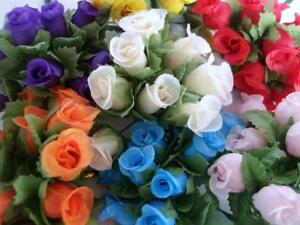 "84 Poly Silk Rose Buds Flower 4"" Wire Stem//Bouquet/wedding/craft/bow H415-Mix"
