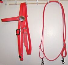 Bridle Headstall Loop Rein RED Beta Biothane Barrel Roping Rein Flame conchos