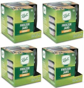 4 packs of BALL Plastic Stackable Gray Freezer Jars W Lids 8 oz - 12 Jars Total