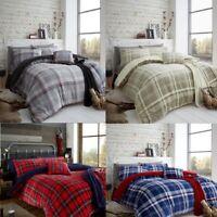 Teddy Fleece Check Duvet Cover Set Cozy Warm Winter Red Teddy Bear Bedding