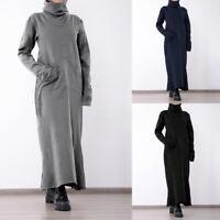Mode Femme Long Robe Trapèze Chaud Pull à Col Montant Manche Longue Dresse Plus