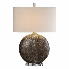 Large Round Distressed Bronze Table Lamp | Circle Brown Beige