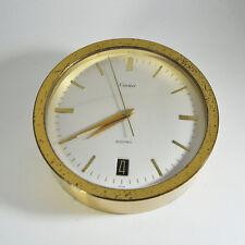 Cartier ELECTRO Mecanic Clock, round Case, Brass, Date, NICE