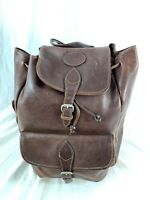 G H BASS & Co Vintage Authentic Brown Leather Drawstring Backpack Rugged Bag