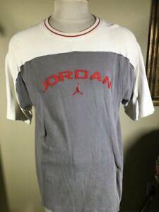 Vintage 90s Jordan SS Gray White Heavy 100% Cotton Pullover T-Shirt Men's Large