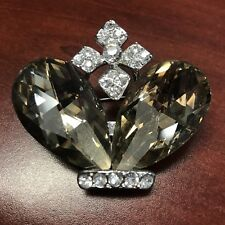 Brooch Pin Silver Tone Crown New Fashion Jewelry Brown Rhinestone
