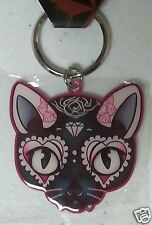 "MISS CHERRY MARTINI PINK CAT 2.25"" x 2"" Metal Keyring NEW (Y378) keychain"