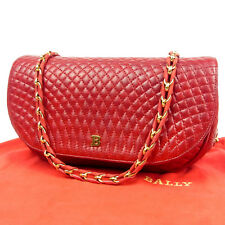 Auth BALLY Vintage Logos Quilted Leather Cross Body Chain Shoulder Bag F/S 2362