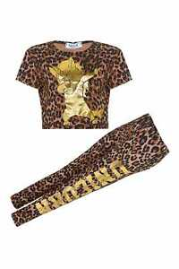 New Girls Gold Unicorn Leopard Crop Top Leggings Outfit Age 7 8 9 10 11 12 13