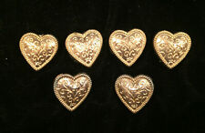 Vintage Gold Tone Heart Pierced Earrings and 4 Matching Button Covers