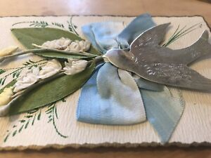 Unusual Embossed Silver Bird / Ribbon Bow / Flowers 3D Greetings PC c1910 France