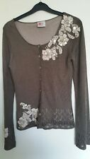 Cream Taupe Silky Vintage Style Pearl Embellished Applique Next Cardigan Size 8