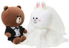"""LINE Friends BROWN CONY Wedding 10"""" Doll Set Character Plush Toy_Tracking Number"""