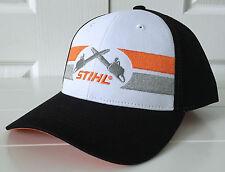 Stihl Black & Cream Hat Cap w Embroidered Crossed Chainsaws