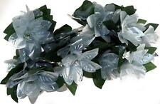 Bunch Of 4 Large Silver Artificial Christmas Poinsettia Flower Stems
