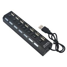 Hub USB 2.0 - 7 ports - Switch on off - Noir