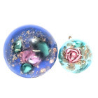 Paperweight Button Blue Mother Daughter Rose Floral Glass Gold Flakes SM Shank