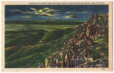 MOONLIGHT Scen Crescent Rock Shenandoah National Park VA Postcard Virginia Linen