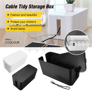 BLACK Cable Storage Box Wire Management Socket Safety Tidy Organizer