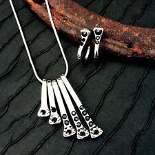 Wyo-Horse Horseshoe Nail Necklace With Black Rhinestones