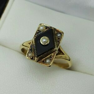 14ct Yellow Gold Antique Onyx & Seed Pearl Set Ring, Finger Size J 1/2