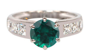 1.70Ct Round Shape Natural Green Zambian Emerald Solitaire Ring In 925 Silver