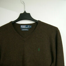 RALPH LAUREN POLO Mens L Large 100% Wool V-Neck Knit Sweater Pullover Brown