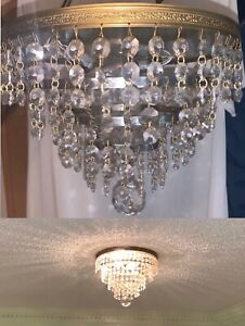 VINTAGE Hollywood Regency 4 tier Crystal Ceiling Light CHANDELIER