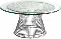"36"" Round Glass Top Coffee Table Stainless Steel Spoke Wire Rod Base"