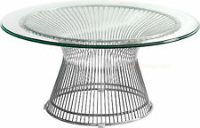 """MID-CENT. MODERN PLATNER STYLE STAINLESS STEEL SPOKE WIRE GLASS COFFEE TABLE 36"""""""