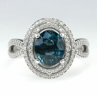 18K White Gold GIA 3.10ct Oval Blue Sapphire & Diamond Double Halo Ring Size 7