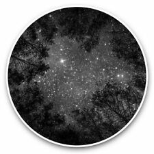 More details for 2 x vinyl stickers 25cm (bw) - beautiful night sky view trees camp  #41276