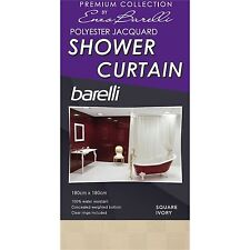 Enzo Barelli POLYESTER JACQUARD SHOWER CURTAIN 180x180cm Square - Ivory Or White