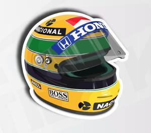 Ayrton Senna F1 Legend Helmet Sticker Decal - 80mm
