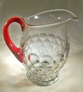 "FENTON ART GLASS GEORGIAN #1611 CRYSTAL RED HANDLED 8"" TALL 1/2-GALLON PITCHER!"