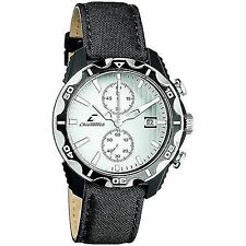 Chronotech CT.7239M/01 NEW Mens White/Black Textured Chrono Sports Leather Watch