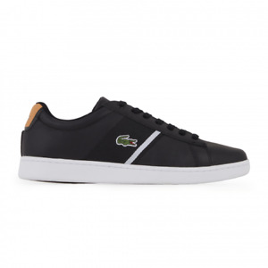 Lacoste Carnaby 0220 2 COU SMA BLK/TAN Premium  Leather Trainers RRP:£85.00