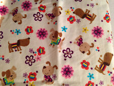 Baby Puppy Blanket Double Flannel Crib Stroller Receiving Reversible 41x41 NEW