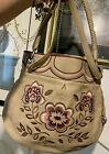 BRIGHTON 3D Colorful FLORAL Flowered Embroidered LG. Convertible Shoulder Bag