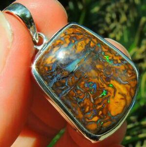 Australian Boulder Opal Pendant QLD Gem Rainbow Fire Color Sterling Mens Unisex