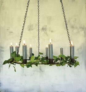 Rustic Round Hanging Taper Candle Holder, Rust Metal Circle Ring Chandelier
