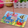 Funny Fishing Game & Wooden Ocean Jigsaw Puzzle Board Magnetic Rod Toy Gifts