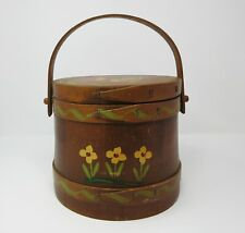 Antique Hand Painted Wood Firkin SUGAR Bucket Pail Woodcroftery Vintage Canister