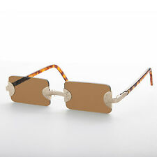 Rimless Rectangle Vintage BADBOY Low Profile Sunglasses Brown/Gold/Brown-Rebel