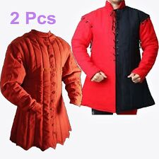Medieval Costumes Padded Cotton Gambeson Armor Color Red 2 Pcs Larp Sca xzs1
