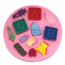 Baby Bottle Blocks Teddy Shower Christening Silicone Mould Cake Icing Mould RO